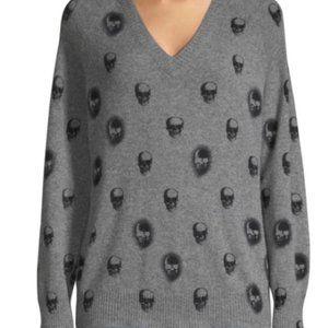 Skull Cashmere V-neck Sweater